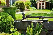 Teak Chinese dragon in garden