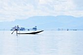 A rowing boat on Inle Lake in Mayanmar (Burma)