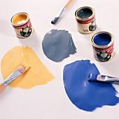 Various colours of paint