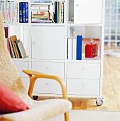 White shelves on castors