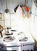 Gas stove in the corner of the kitchen
