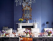 Festive table in blue-painted dining room