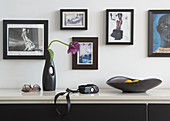 Tulip in vase and black dish on sideboard against wall of framed photographs