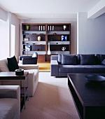 Elegant designer living room with cubist seating