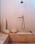 Designer bathroom with erotic sculptures