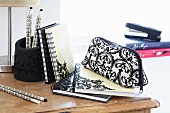 Black and white writing materials