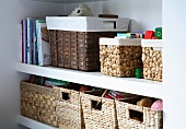 Shelves with various storage baskets