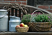 Old milk cans, fruit basket & basket of flowers on wooden bench