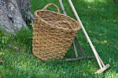 Wicker basket & wooden rakes on garden lawn
