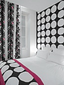 Mixture of black and white patterns in modern hotel room