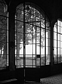 Nostalgic black and white atmosphere - view of park-like garden through ceiling-height windows of historic building