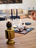 Oil lamp, candles and tea light holders