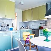 Pastel cupboard doors in kitchen