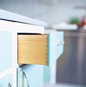 Open draw in kitchen cupboard