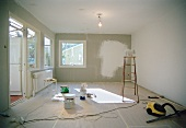 Renovation in an empty living room