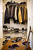 Closet with clothes and shoes