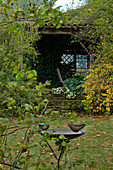 Small, overgrown summer house with bird bath in the garden