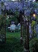 Blick durch Gartentor aus Metall und üppig blühende Glyzinienranken auf romantisch gedeckten Gartentisch