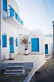 Mediterranean houses with blue windows and doors