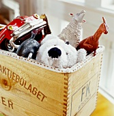 Wooden crate with toys