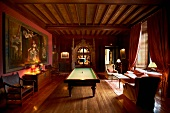 Billiard room in Chateau de Thalhouet (Brittany, France)