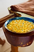 Bowl of water with flowers (Hotel and Ayurveda Spa Shanti Maurice, Mauritius)