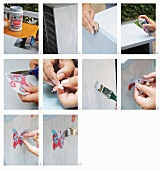 Decorating a cupboard with butterfly decals