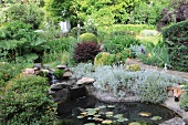 Small pond with waterfall in garden