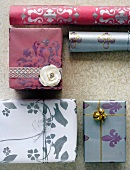 Elegantly packed gifts and gift paper