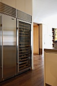 Contemporary kitchen with stainless steel combined wine cabinet and refrigerator