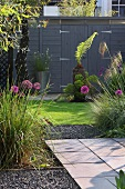 Modern garden with wooden shed
