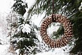 Home-made fir cone wreath
