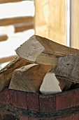 Logs in wooden crate