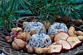 Gugelhupf aus Vogelfutter und Pflanzenfett, Apfelscheiben und Nüsse