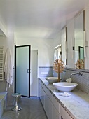 Designer bathroom with two wash basins on washstand and glass door leading to shower area