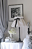 Romantic bedroom in black and white