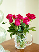 Bouquet of roses in crystal vase