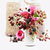 Summer bouquet with calla lilies (Ruby Sensation variety) and blackberries