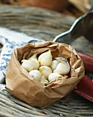 Garlic bulbs for planting in a paper bag