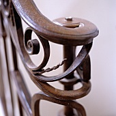 Detail of wrought iron handrail of elegant staircase