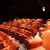 Movie theatre - rows of seats with orange back and seat cushions below dark panelled ceiling with spotlights