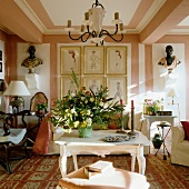 Large bouquet in elegant, French-style living room