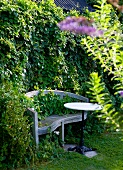 Old garden bench and bistro table in front of hedge