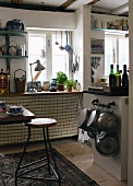 Dining area with stool in rustic kitchen