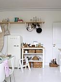 Fifties-style refrigerator in modern kitchen