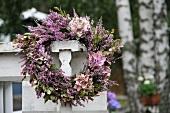 Wreath of hydrangeas and heather