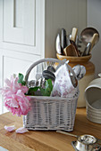 Cutlery basket decorated with rose