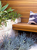 Wooden bench and back wall next to Mediterranean plants in raised bed with stone surround