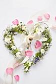 Heart-shaped wreath of flowers