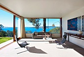 Living room with sea view (Tasmania)